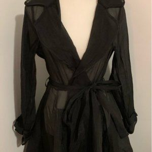 Jackets & Blazers - Hot & Delicious Sheer Black Coat Duster Trench